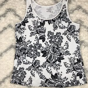 Lane Bryant white ribbed tank with black floral